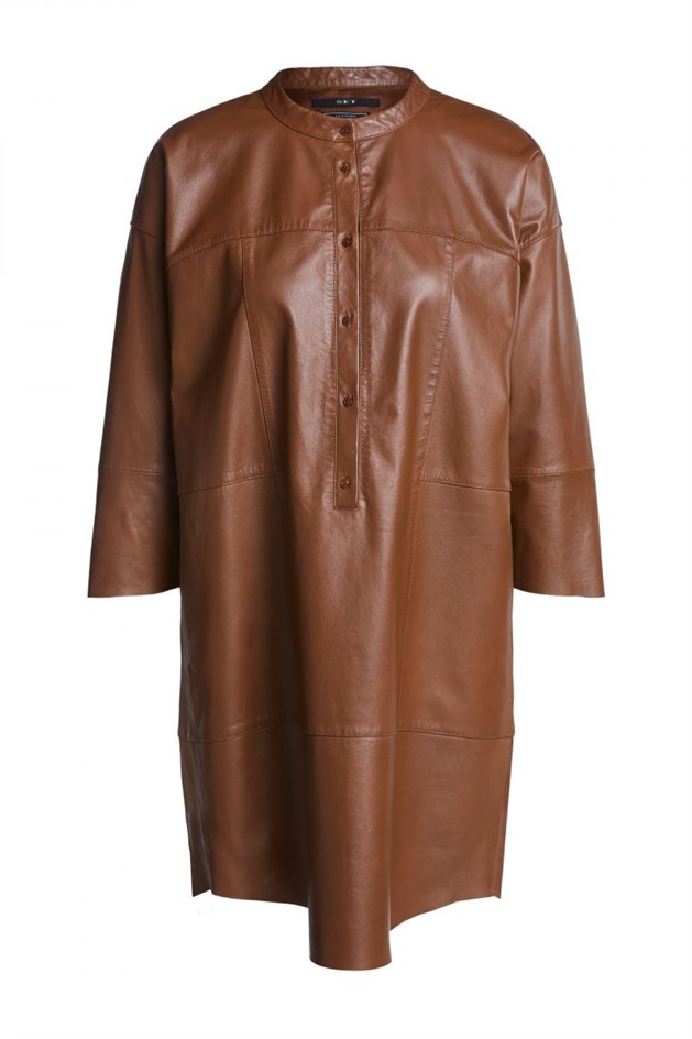 casual midi dress made of leather